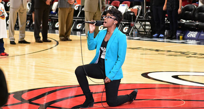 National Anthem Singer Protests Song She Sings While Singing It