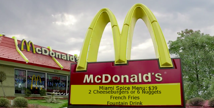 McDonalds Offers Exclusive Miami-Spice Menu