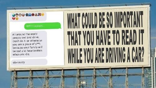 Distracting Anti-Texting Billboard Causes Crash