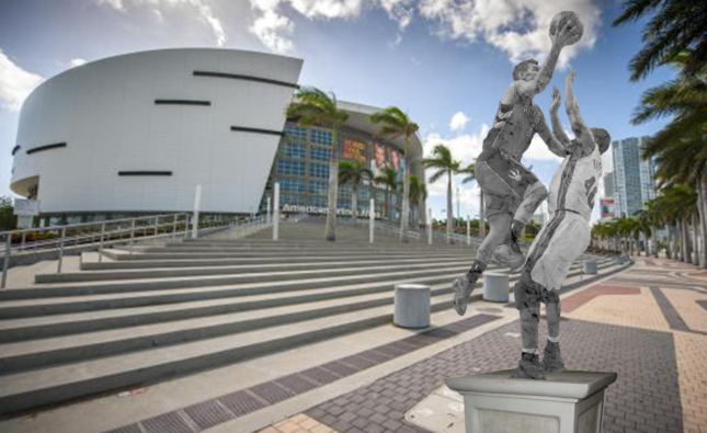 Petition To Erect Statue of Udonis Haslem Taking a Charge Outside Heat Arena
